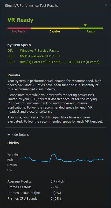 HTV Vive SteamVR results